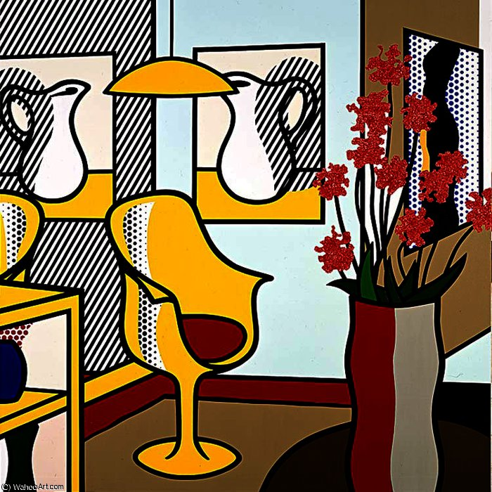 Int rieur avec jaune chaise huile de roy lichtenstein - Muebles pop art ...