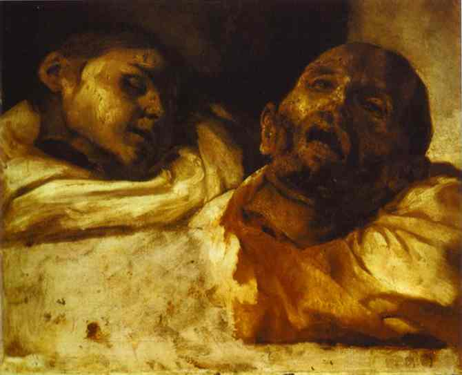 Severed Heads, huile de Jean-Louis André Théodore Géricault (1791-1824, France)
