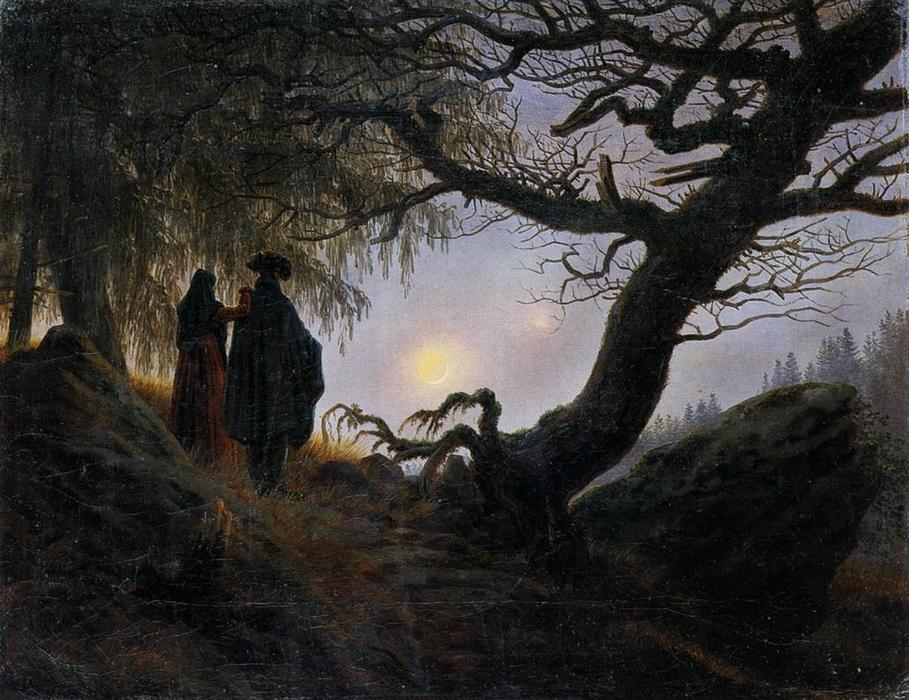 Homme et femme CONTEMPLER  la  lune , 1824 de Caspar David Friedrich (1774-1840, Germany) | Copie Tableau | WahooArt.com