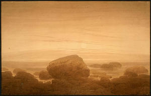 Caspar David Friedrich - Moonrise sur une Shore vide