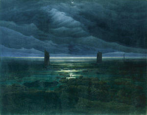 Caspar David Friedrich - littoral par de  clair de lune