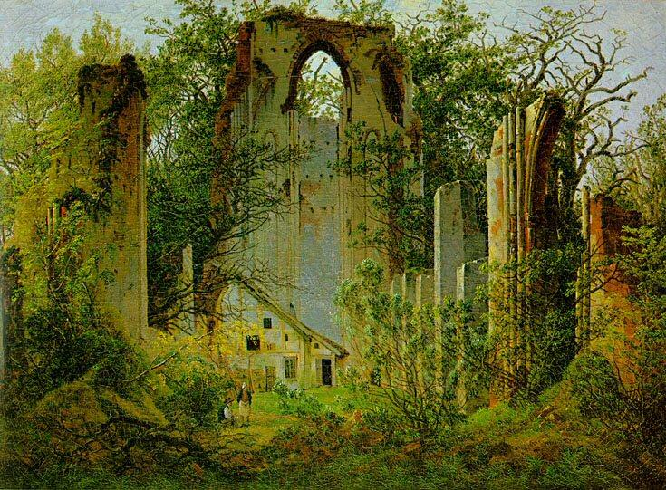 Les Ruines de Eldena Abbey1  , Huile de Caspar David Friedrich (1774-1840, Germany)