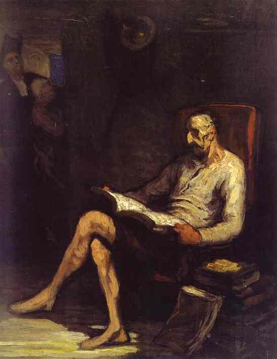 Don Quichotte lecture, Huile de Honoré Daumier (1808-1879, France)