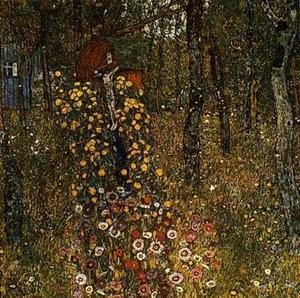 Ferme jardin avec tournesols huile sur toile de gustav for Biographie de klimt