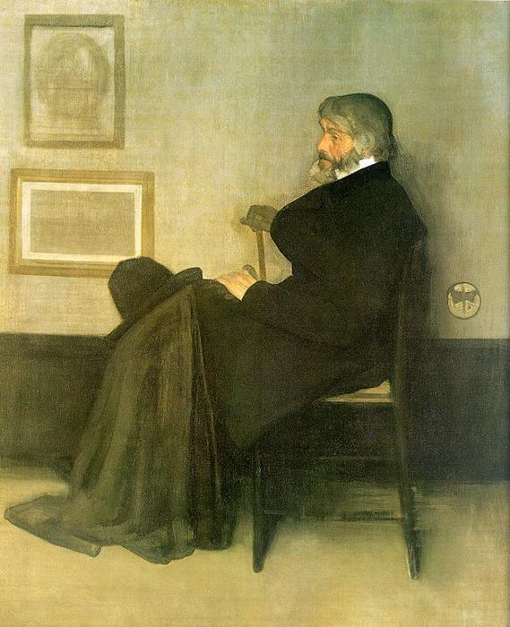 arrangement en gris et noir nombre 2 , portrait de thomas carlyle, Huile de James Abbott Mcneill Whistler (1834-1903, United States)
