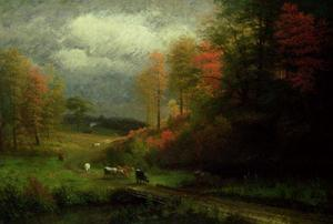 Albert Bierstadt - rainy day à l automne , Massachusetts