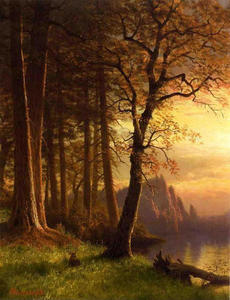 Albert Bierstadt - Coucher de soleil en Californie Yosemite