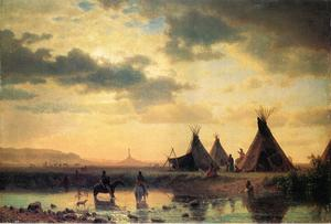 Albert Bierstadt - vue de chimney rock ogalillalh sioux village au premier plan