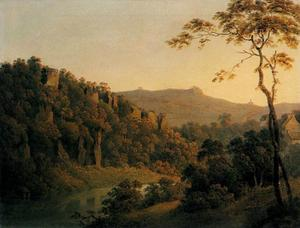 Joseph Wright Of Derby - voir à matlock dale , regardant vers le sud à black rock escarpement