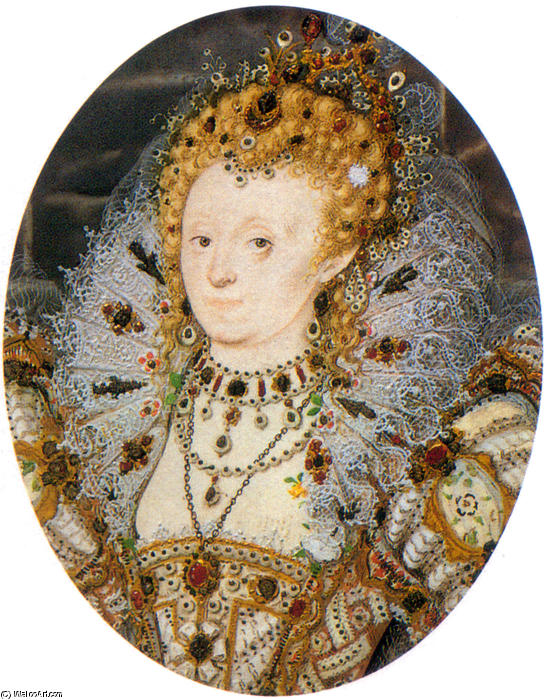 Elizabeth IV3 de Nicholas Hilliard (1577-1619, United Kingdom) | Copie Tableau | WahooArt.com