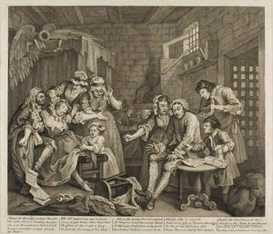 William Hogarth - Plate sept , depuis un Rake's Progress