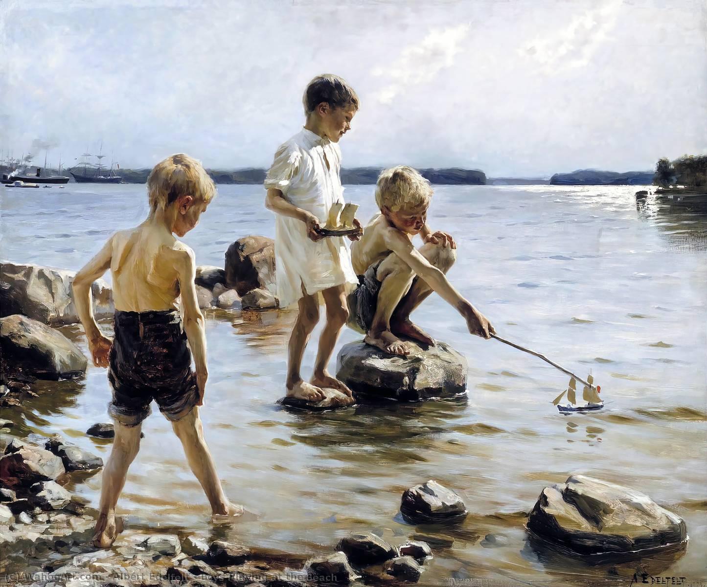 Garçons jouant à la plage, huile de Albert Edelfelt (1854-1905, Finland)