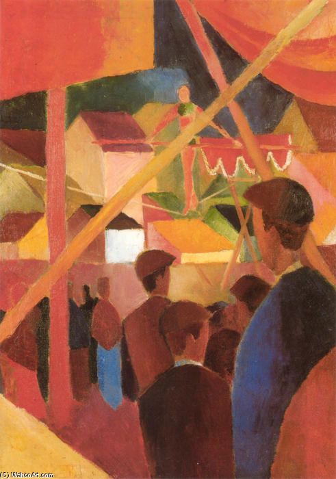 Funambule, 1914 de August Macke (1887-1914, Germany) | Reproductions De Peintures August Macke | WahooArt.com
