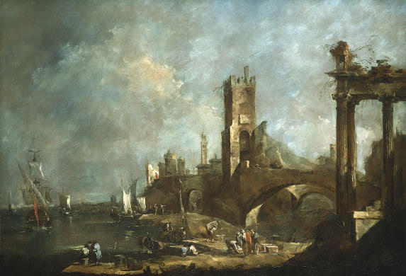 Capriccio d un Port, Huile de Francesco Lazzaro Guardi (1712-1793, Italy)