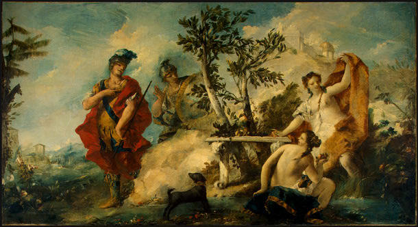Carlo et Ubaldo Résister les enchantements de nymphes de Armida de Francesco Lazzaro Guardi (1712-1793, Italy) | Reproductions De Qualité Musée | WahooArt.com