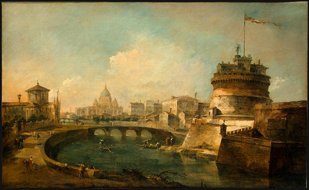 Fantaisiste Vue de Castel Sant`Angelo , Rome de Francesco Lazzaro Guardi (1712-1793, Italy) | Copie Tableau | WahooArt.com