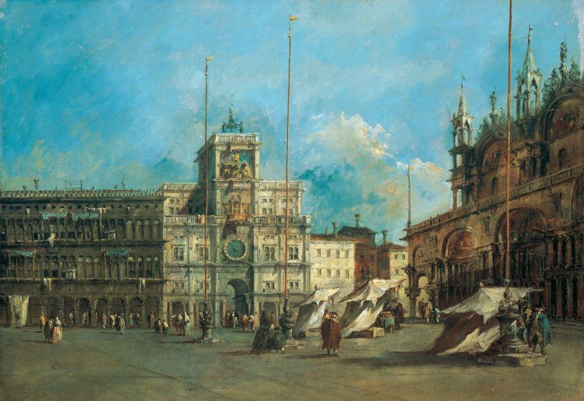 St . Mark's Carré Venise avec la tour de l`horloge de Francesco Lazzaro Guardi (1712-1793, Italy) | Reproductions D'art Sur Toile | WahooArt.com