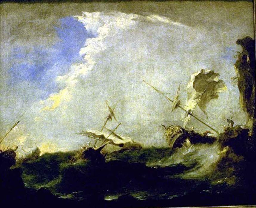 tempête à mer de Francesco Lazzaro Guardi (1712-1793, Italy) | Reproduction Peinture | WahooArt.com