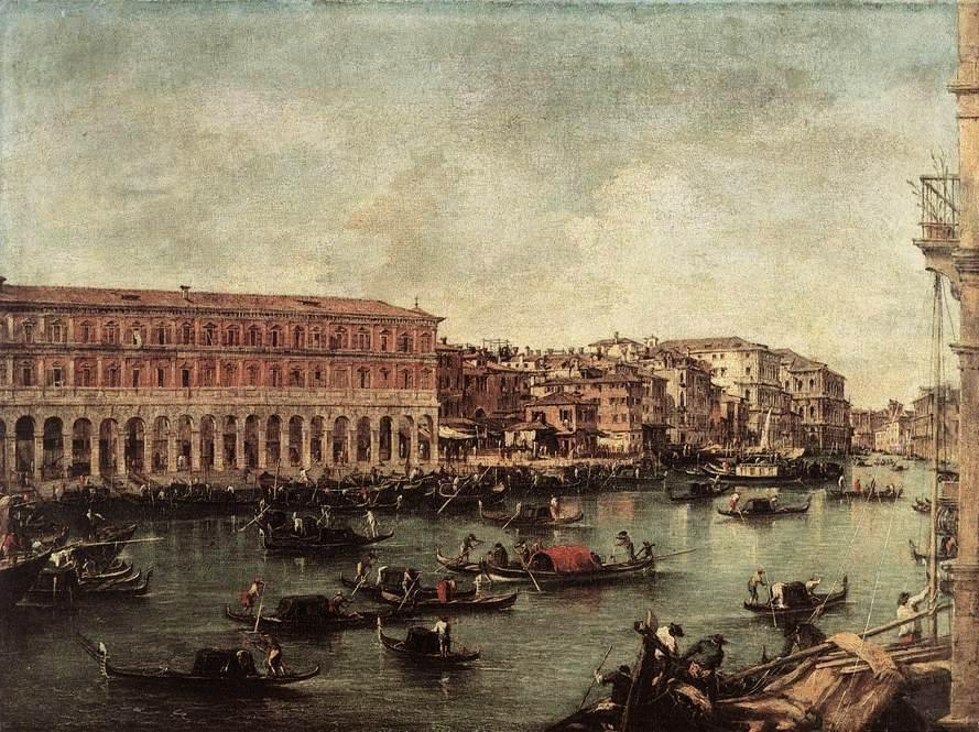 le grand canal à l` poisson marché ( Pescheria ) de Francesco Lazzaro Guardi (1712-1793, Italy) | Reproductions D'art Sur Toile | WahooArt.com