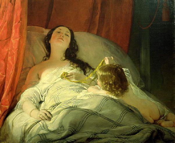 The Drowsy Une de Friedrich Ritter Von Amerling (1803-1887) | Reproductions D'art Sur Toile | WahooArt.com