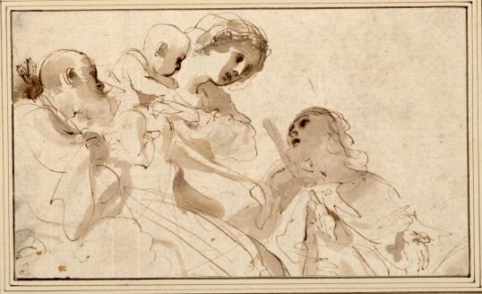 Marie et le enfant avec deux saints dessin de guercino - Comment dessiner ulysse ...