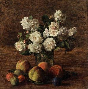 Henri Fantin Latour - Nature Morte roses  et  fruits