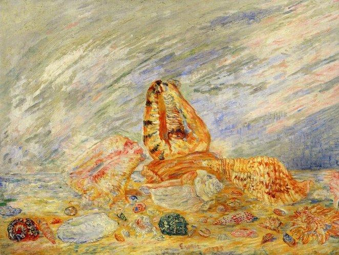 Coquillages 1, huile de James Ensor (1860-1949, Belgium)