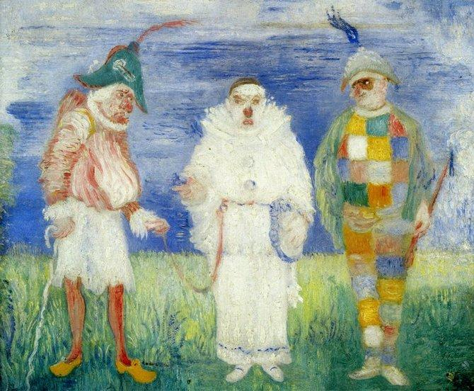 L Arrestation de Pierrot, huile de James Ensor (1860-1949, Belgium)