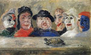 James Ensor - Masques regardant juin tortue