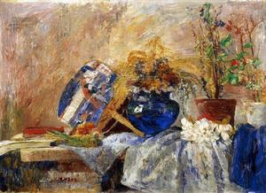 James Ensor - Nature morte au vase et une l' eventail bleu