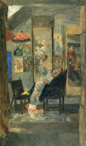 James Ensor - Squelette regardant des chinoiseries