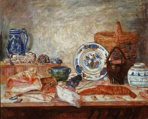 James Ensor - nature morte avec poisson et  coquillages