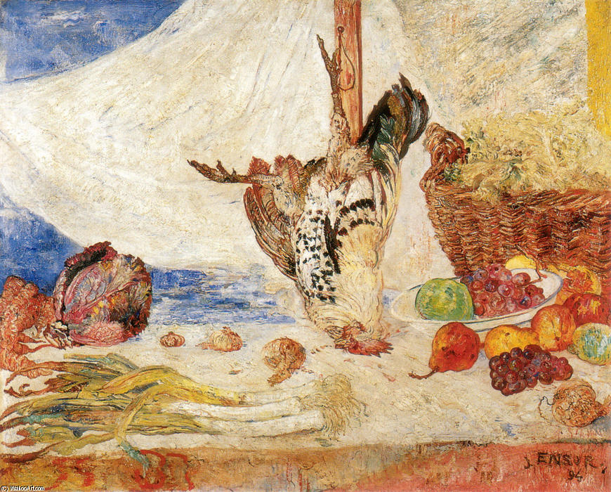 The Dead Coquelet, Huile de James Ensor (1860-1949, Belgium)