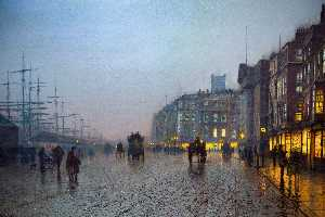 John Atkinson Grimshaw - Liverpool de Wapping - (copie de tableau)