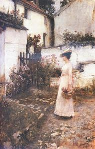 John William Waterhouse - Summer Flowers Gathering dans un jardin Devonshire