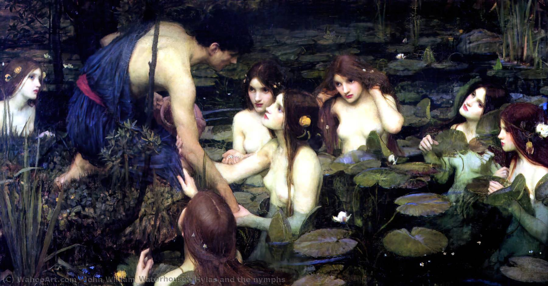 Hylas et les nymphes, Huile de John William Waterhouse (1849-1917, Italy)
