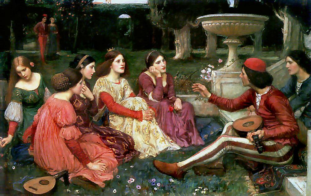 Conte du Decameron, Huile de John William Waterhouse (1849-1917, Italy)