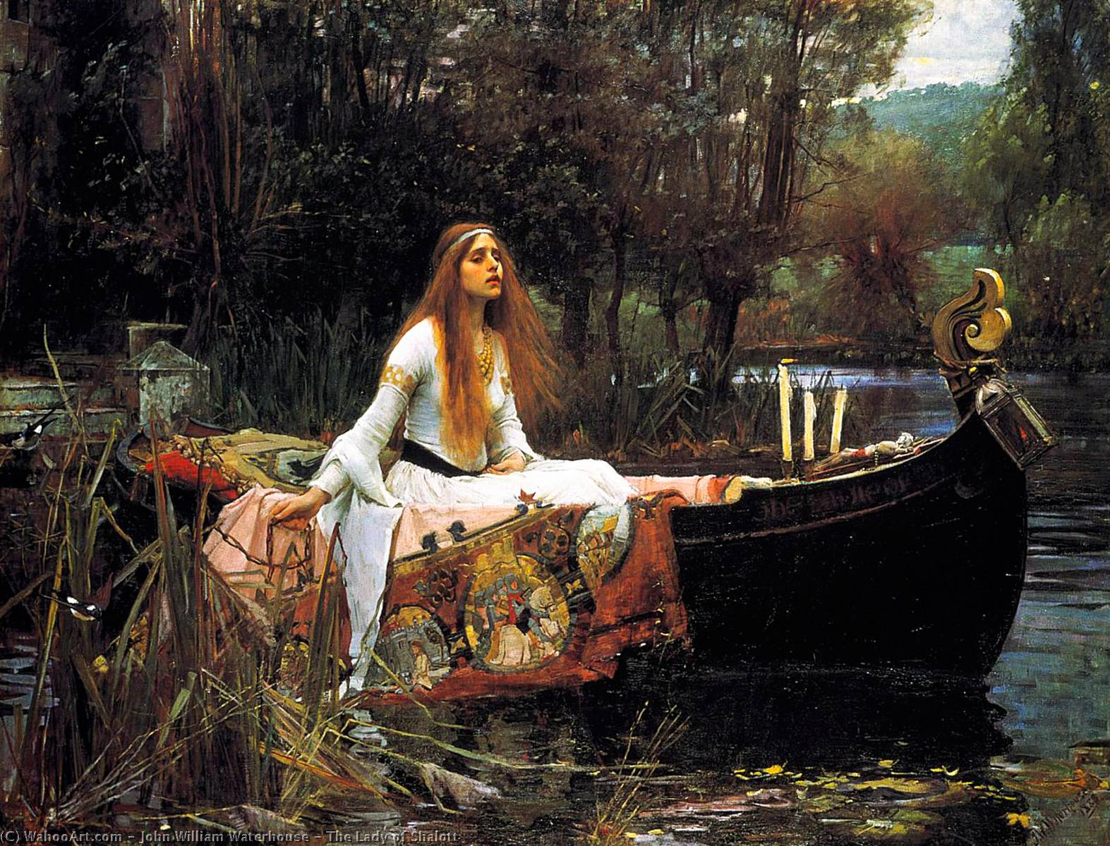 La Dame de Shalott, Huile de John William Waterhouse (1849-1917, Italy)
