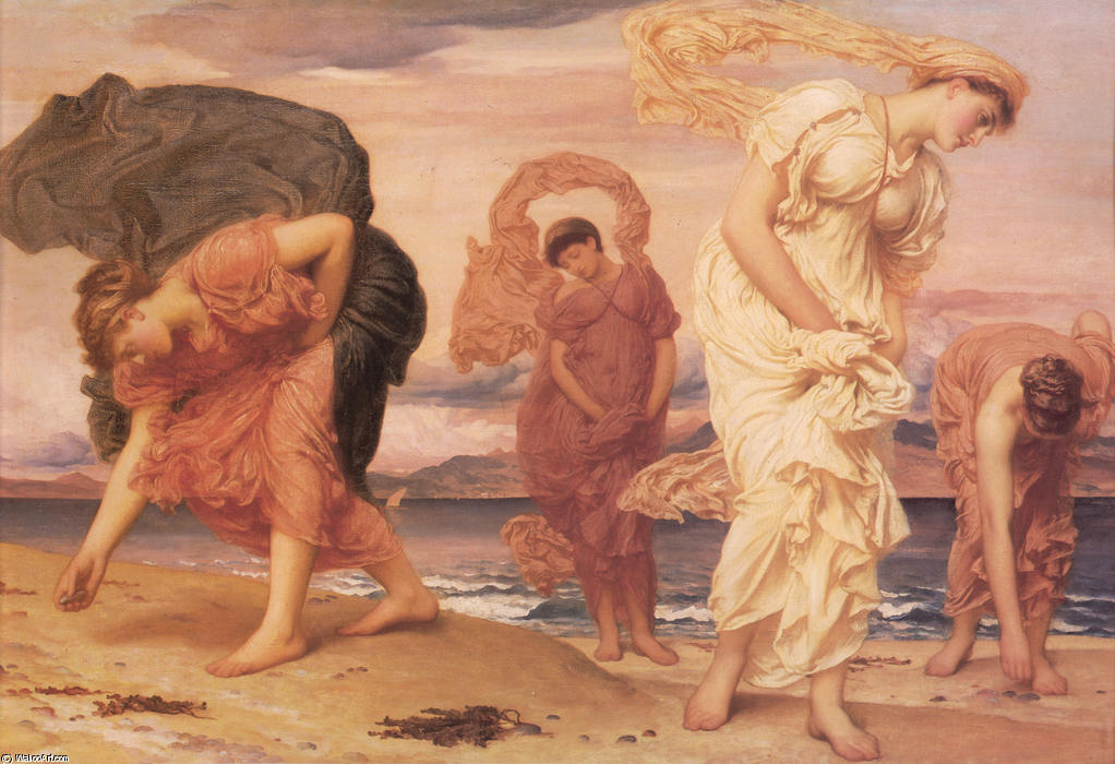 Achat Reproductions De Qualité Musée | Filles grecques Picking up Pebbles par la mer de Lord Frederic Leighton (1830-1896, United Kingdom) | WahooArt.com