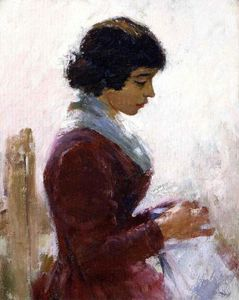Theodore Robinson - fille en rouge couture