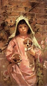 Theodore Robinson - Fille avec Puppies