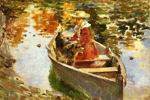 Theodore Robinson - Mlle Motes et Son Chien Shep