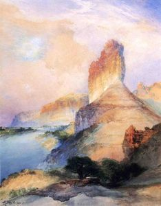 Achat Reproductions D'art | castle butte , rivière verte , Wyoming de Thomas Moran (1837-1926, United Kingdom) | WahooArt.com