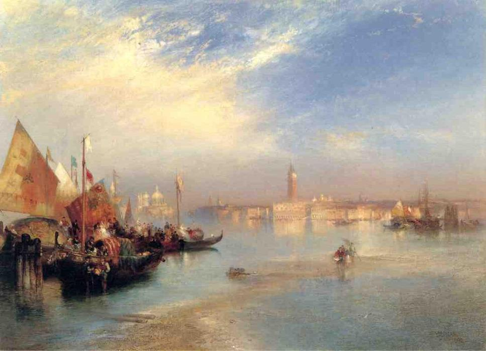 le `fishermans` mariage fête, 1892 de Thomas Moran (1837-1926, United Kingdom) | Reproductions D'art Thomas Moran | WahooArt.com