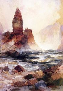 Thomas Moran - tour falls et de sulphur rock , Yellowstone