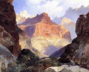 Thomas Moran - sous l- rouge mur , grand canyon des arizona