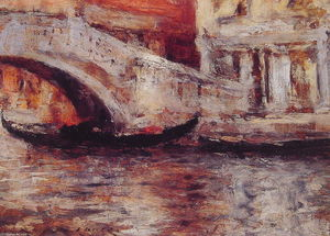 William Merritt Chase - Gondoles de Venise le long du canal