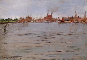 William Merritt Chase - Port Scène Docks Brooklyn