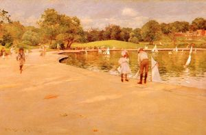 William Merritt Chase - Lilliputien Boat-Lake - centrale parc