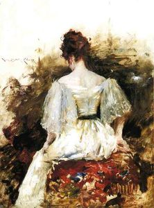 William Merritt Chase - portrait d'un femme -   la  BLANCS  robe